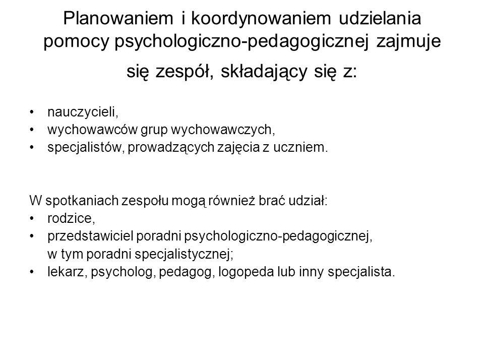 Planowaniem i koordynowaniem udzielania pomocy psychologiczno-pedagogicznej zajmuje się zespół, składający się z: