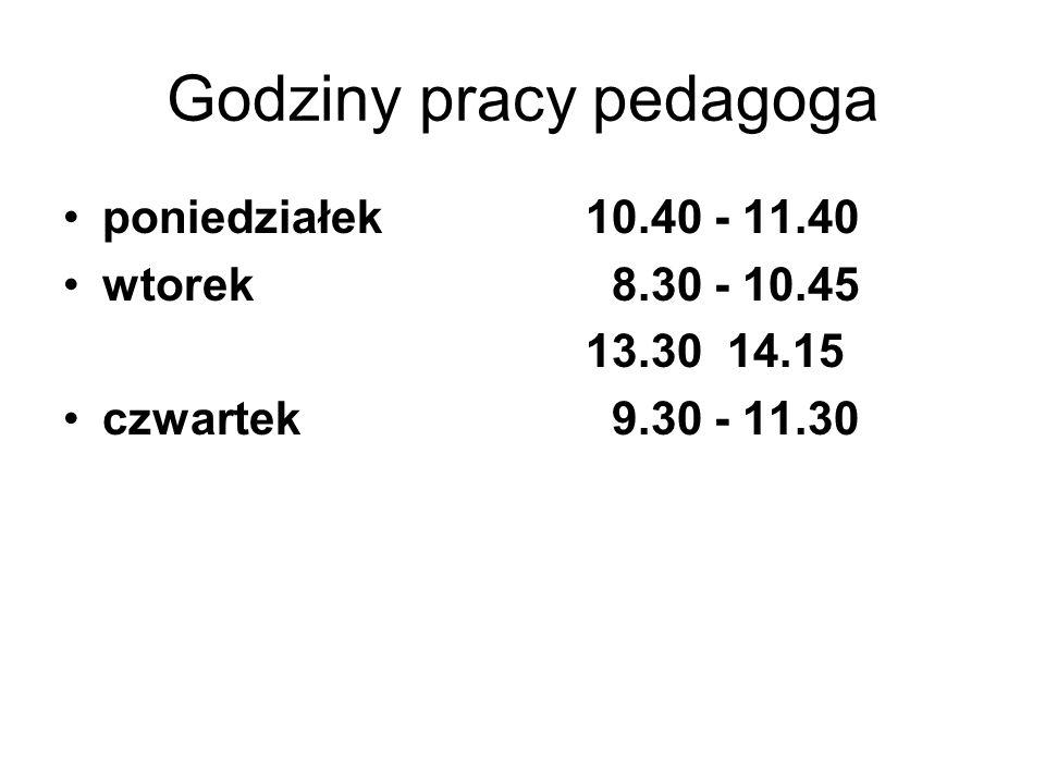 Godziny pracy pedagoga