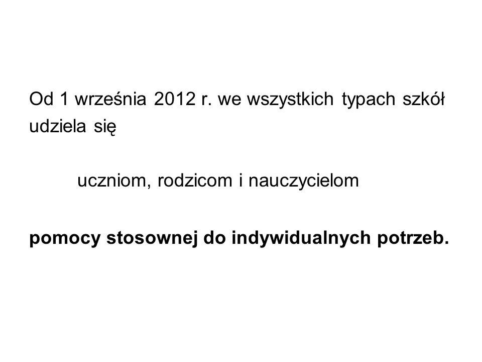 Od 1 września 2012 r. we wszystkich typach szkół
