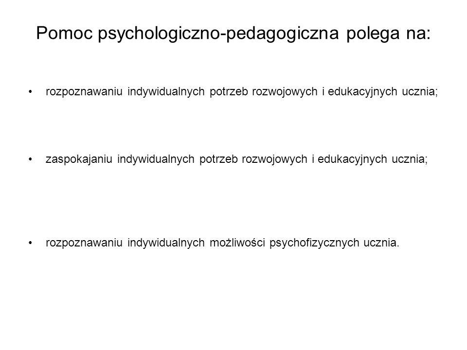 Pomoc psychologiczno-pedagogiczna polega na: