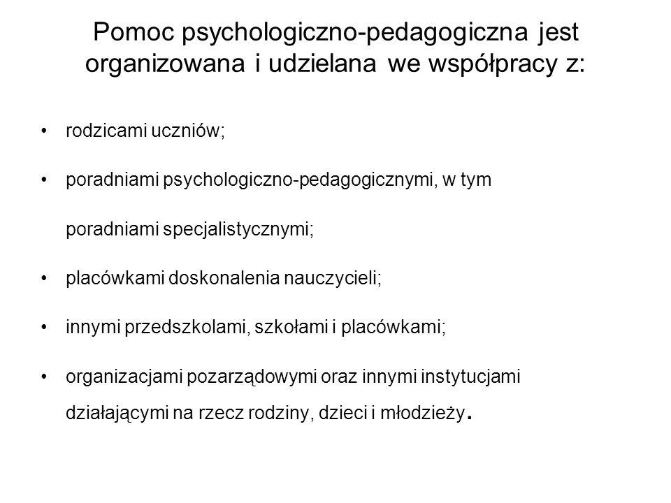 Pomoc psychologiczno-pedagogiczna jest organizowana i udzielana we współpracy z: