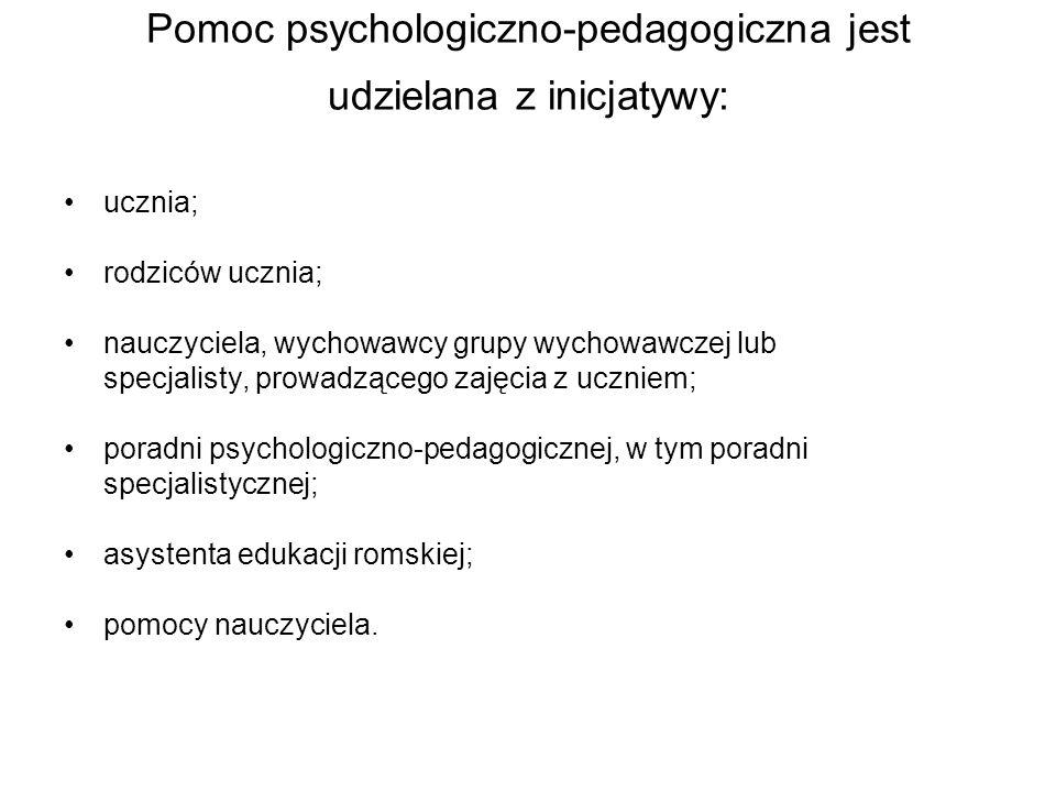 Pomoc psychologiczno-pedagogiczna jest udzielana z inicjatywy: