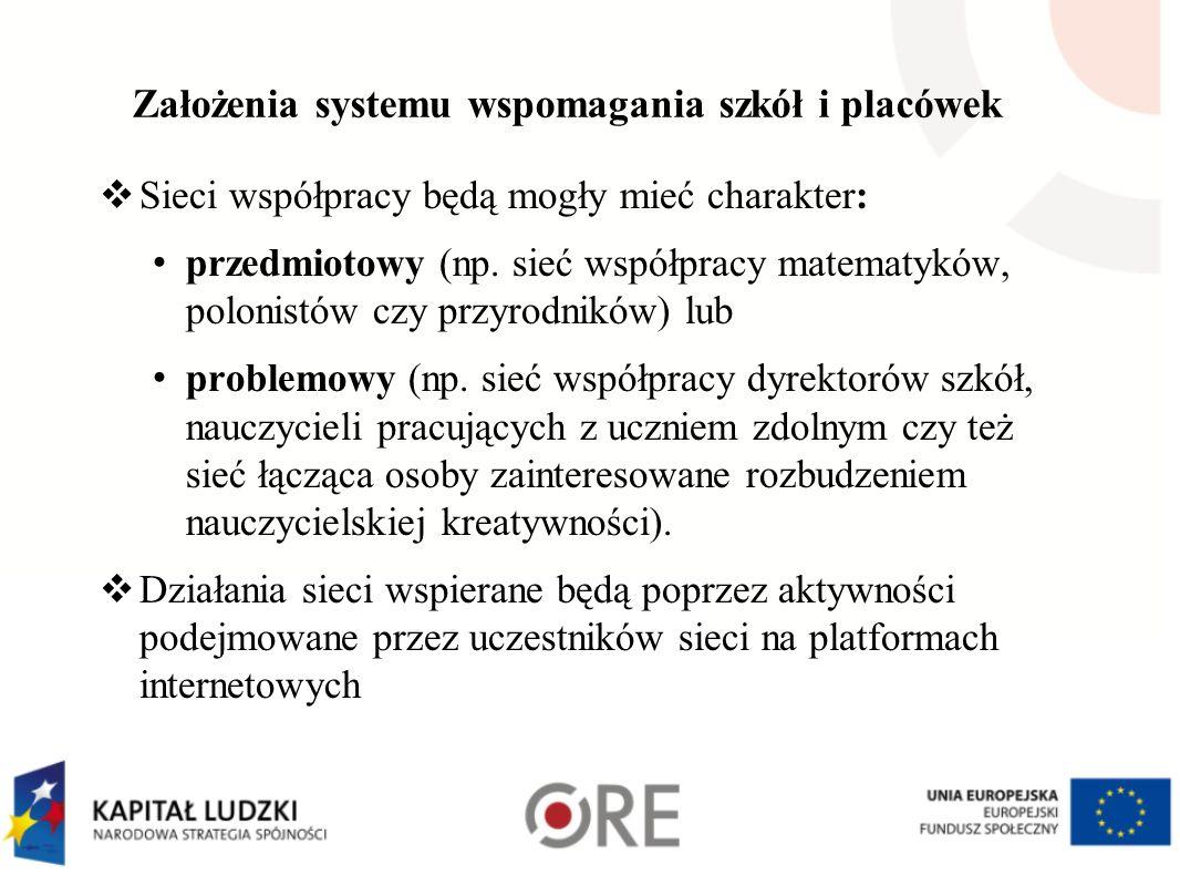 Założenia systemu wspomagania szkół i placówek