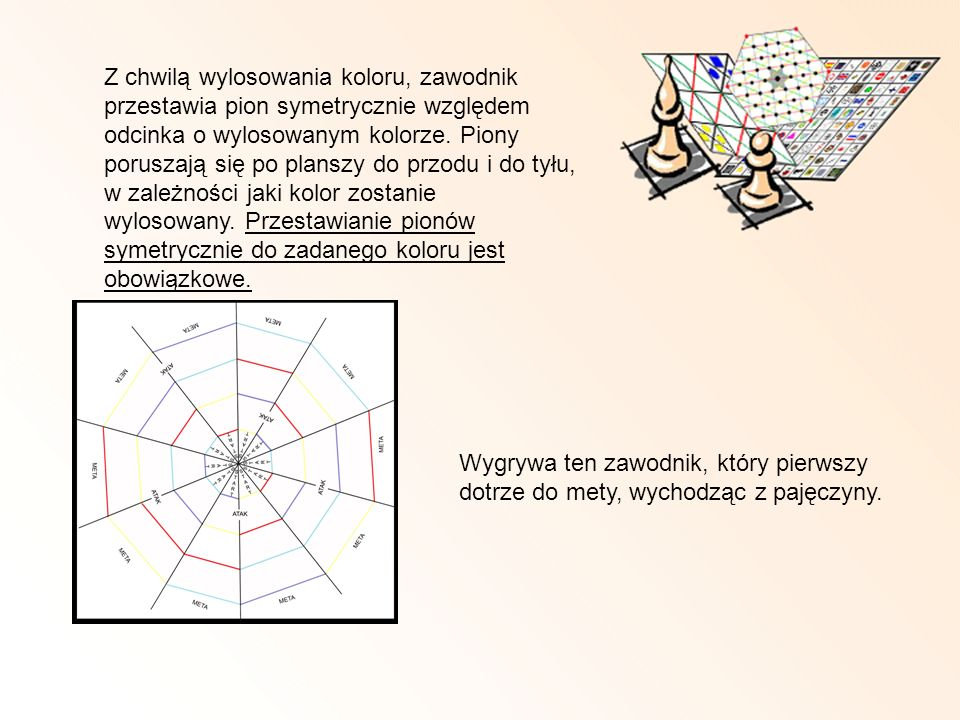 Z chwilą wylosowania koloru, zawodnik przestawia pion symetrycznie względem odcinka o wylosowanym kolorze. Piony poruszają się po planszy do przodu i do tyłu, w zależności jaki kolor zostanie wylosowany. Przestawianie pionów symetrycznie do zadanego koloru jest obowiązkowe.