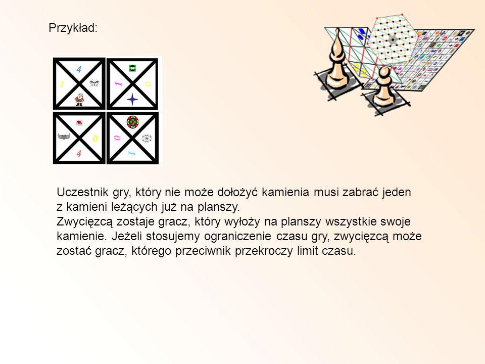 Przykład: Uczestnik gry, który nie może dołożyć kamienia musi zabrać jeden z kamieni leżących już na planszy.