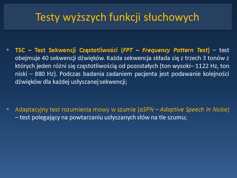 Testy wyższych funkcji słuchowych