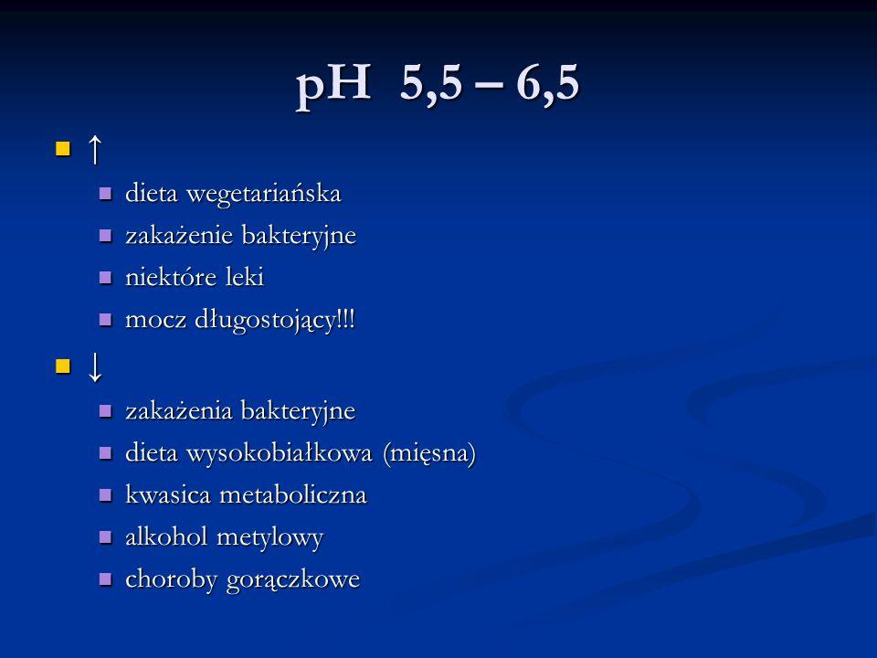 pH 5,5 – 6,5 ↑ ↓ dieta wegetariańska zakażenie bakteryjne