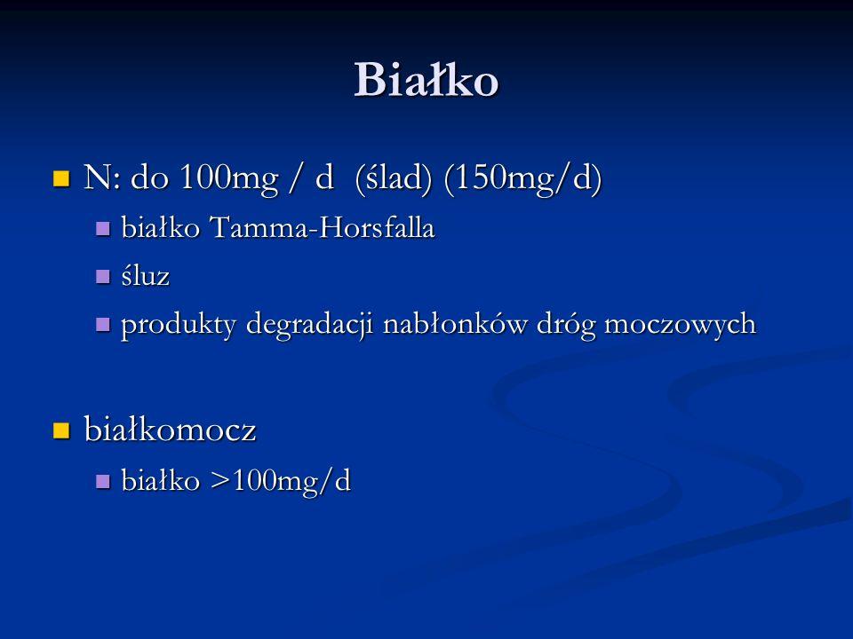 Białko N: do 100mg / d (ślad) (150mg/d) białkomocz