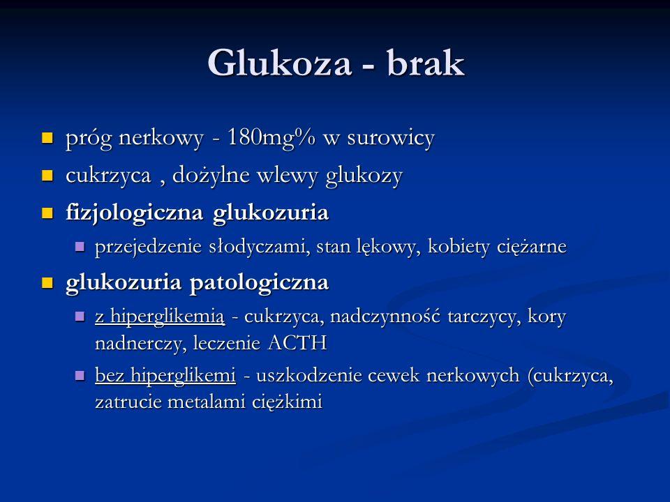 Glukoza - brak próg nerkowy - 180mg% w surowicy