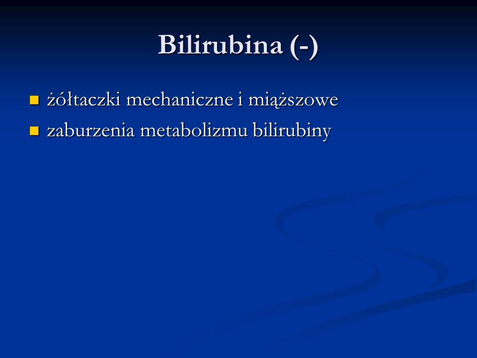 Bilirubina (-) żółtaczki mechaniczne i miąższowe