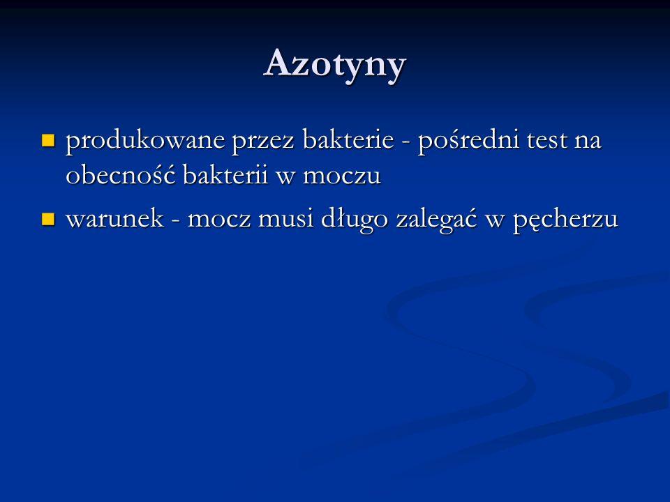Azotyny produkowane przez bakterie - pośredni test na obecność bakterii w moczu.