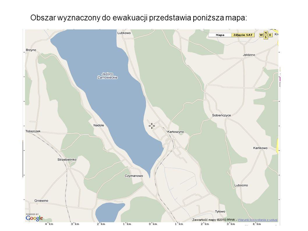 Obszar wyznaczony do ewakuacji przedstawia poniższa mapa: