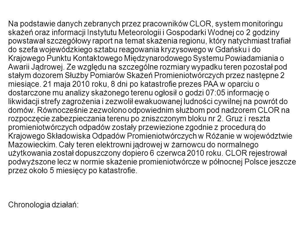 Na podstawie danych zebranych przez pracowników CLOR, system monitoringu skażeń oraz informacji Instytutu Meteorologii i Gospodarki Wodnej co 2 godziny powstawał szczegółowy raport na temat skażenia regionu, który natychmiast trafiał do szefa wojewódzkiego sztabu reagowania kryzysowego w Gdańsku i do Krajowego Punktu Kontaktowego Międzynarodowego Systemu Powiadamiania o Awarii Jądrowej. Ze względu na szczególne rozmiary wypadku teren pozostał pod stałym dozorem Służby Pomiarów Skażeń Promieniotwórczych przez następne 2 miesiące. 21 maja 2010 roku, 8 dni po katastrofie prezes PAA w oparciu o dostarczone mu analizy skażonego terenu ogłosił o godzi 07:05 informację o likwidacji strefy zagrożenia i zezwolił ewakuowanej ludności cywilnej na powrót do domów. Równocześnie zezwolono odpowiednim służbom pod nadzorem CLOR na rozpoczęcie zabezpieczania terenu po zniszczonym bloku nr 2. Gruz i reszta promieniotwórczych odpadów zostały przewiezione zgodnie z procedurą do Krajowego Składowiska Odpadów Promieniotwórczych w Różanie w województwie Mazowieckim. Cały teren elektrowni jądrowej w żarnowcu do normalnego użytkowania został dopuszczony dopiero 6 czerwca 2010 roku. CLOR rejestrował podwyższone lecz w normie skażenie promieniotwórcze w północnej Polsce jeszcze przez około 5 miesięcy po katastrofie.