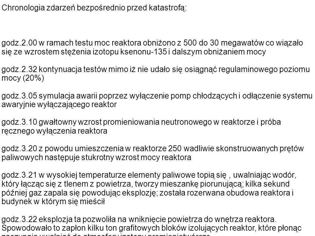 Chronologia zdarzeń bezpośrednio przed katastrofą: