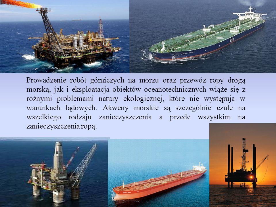 Prowadzenie robót górniczych na morzu oraz przewóz ropy drogą morską, jak i eksploatacja obiektów oceanotechnicznych wiąże się z różnymi problemami natury ekologicznej, które nie występują w warunkach lądowych.
