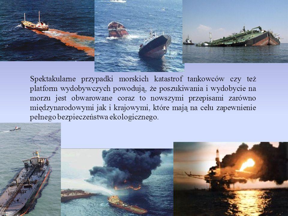 Spektakularne przypadki morskich katastrof tankowców czy też platform wydobywczych powodują, że poszukiwania i wydobycie na morzu jest obwarowane coraz to nowszymi przepisami zarówno międzynarodowymi jak i krajowymi, które mają na celu zapewnienie pełnego bezpieczeństwa ekologicznego.