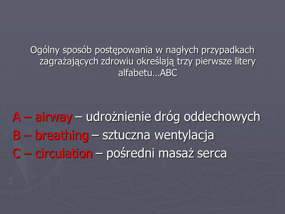 A – airway – udrożnienie dróg oddechowych