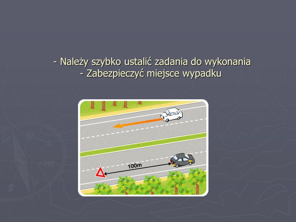 - Należy szybko ustalić zadania do wykonania - Zabezpieczyć miejsce wypadku