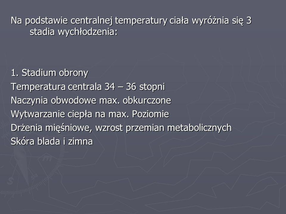 Na podstawie centralnej temperatury ciała wyróżnia się 3 stadia wychłodzenia: