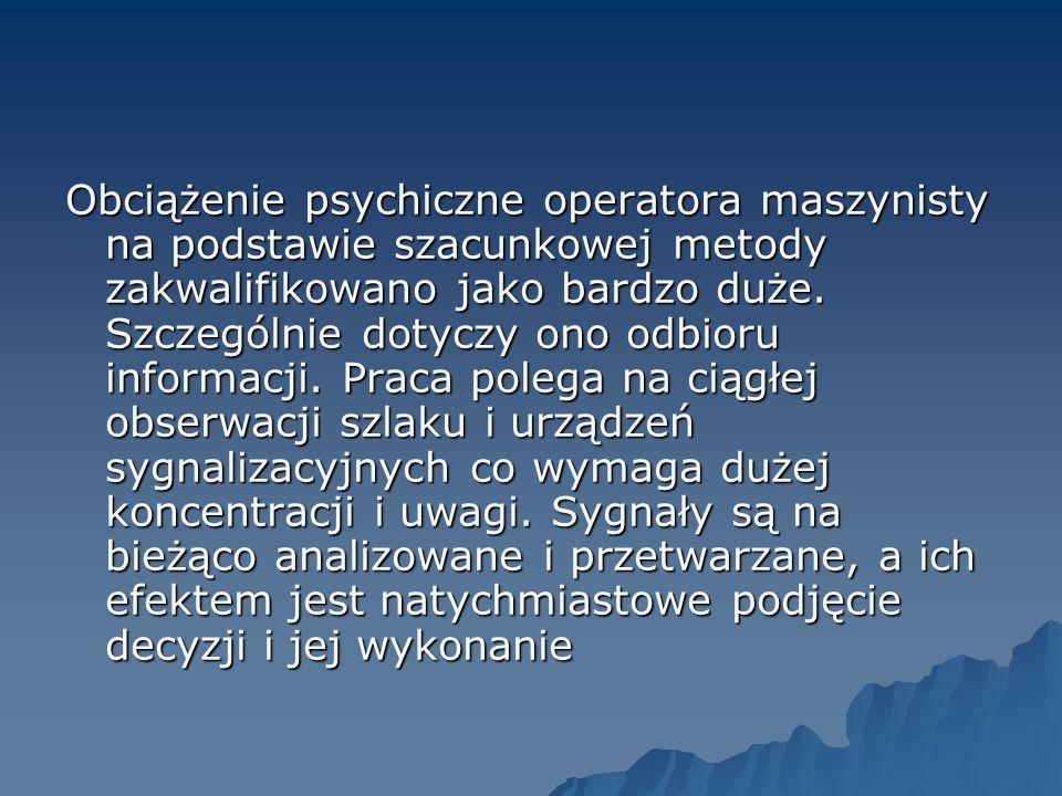 Obciążenie psychiczne operatora maszynisty na podstawie szacunkowej metody zakwalifikowano jako bardzo duże.