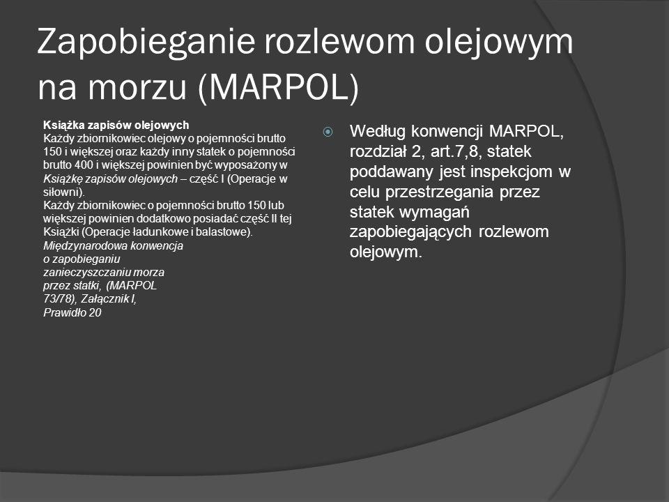 Zapobieganie rozlewom olejowym na morzu (MARPOL)