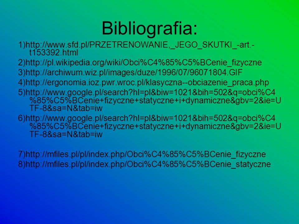 Bibliografia: 1)http://www.sfd.pl/PRZETRENOWANIE,_JEGO_SKUTKI_-art.-t153392.html. 2)http://pl.wikipedia.org/wiki/Obci%C4%85%C5%BCenie_fizyczne.