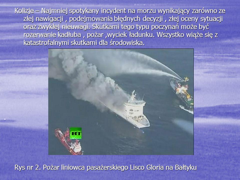 Kolizje – Najmniej spotykany incydent na morzu wynikający zarówno ze złej nawigacji , podejmowania błędnych decyzji , złej oceny sytuacji oraz zwykłej nieuwagi. Skutkami tego typu poczynań może być rozerwanie kadłuba , pożar ,wyciek ładunku. Wszystko wiąże się z katastrofalnymi skutkami dla środowiska.