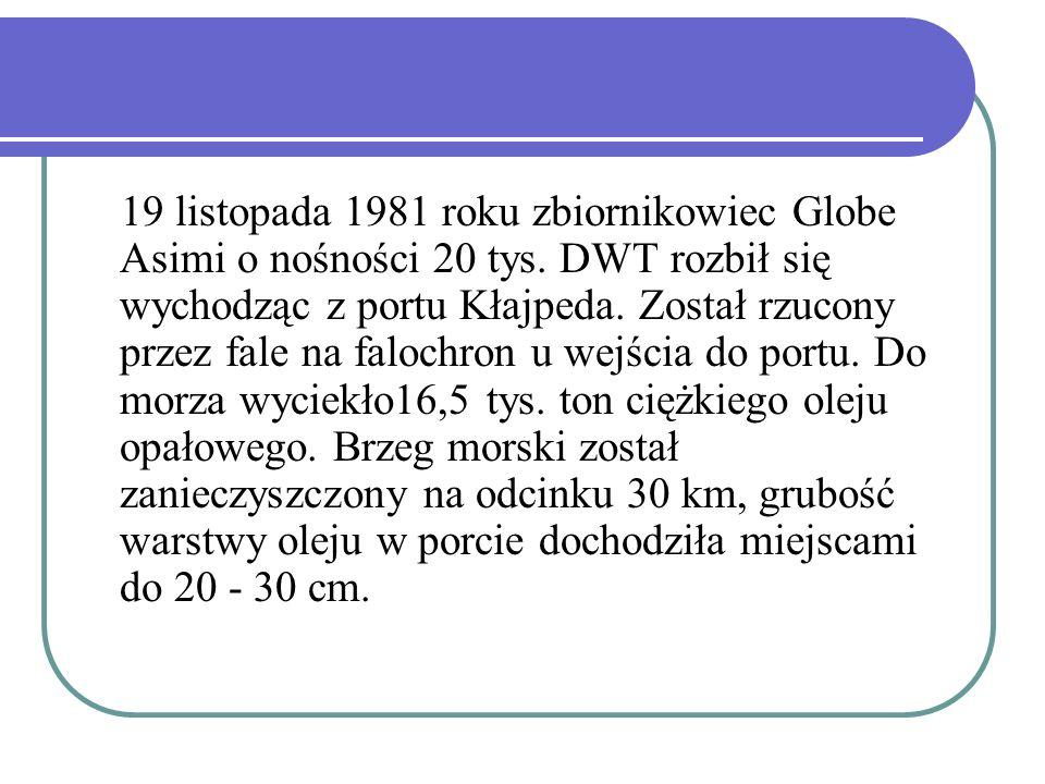 19 listopada 1981 roku zbiornikowiec Globe Asimi o nośności 20 tys