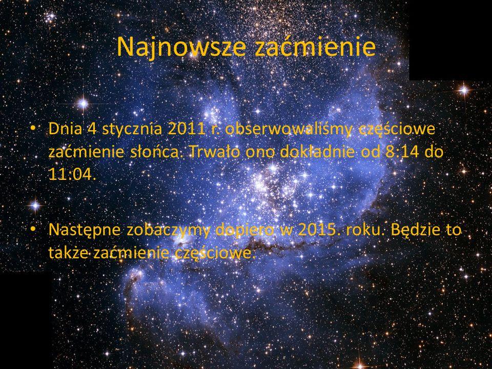 Najnowsze zaćmienie Dnia 4 stycznia 2011 r. obserwowaliśmy częściowe zaćmienie słońca. Trwało ono dokładnie od 8:14 do 11:04.