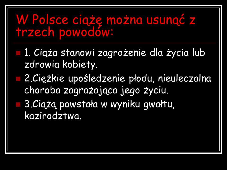 W Polsce ciążę można usunąć z trzech powodów: