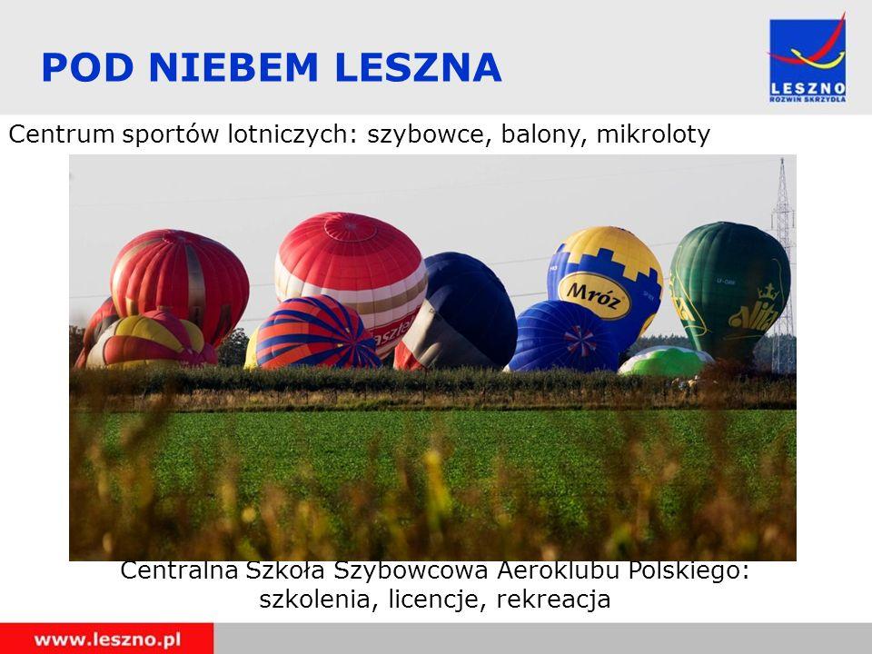 POD NIEBEM LESZNA Centrum sportów lotniczych: szybowce, balony, mikroloty. Centralna Szkoła Szybowcowa Aeroklubu Polskiego: