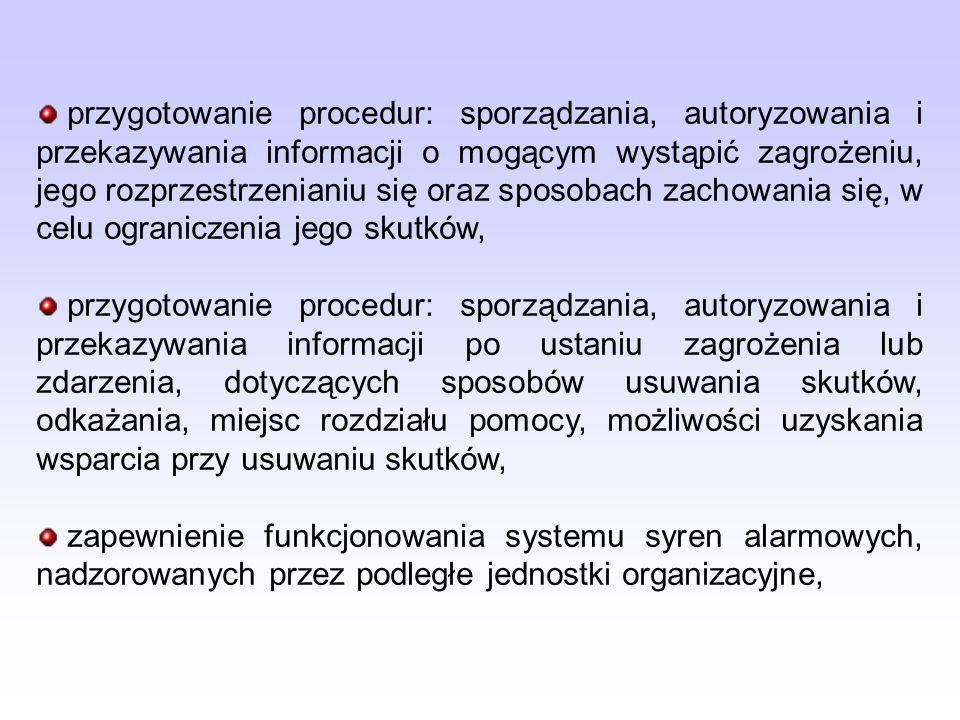 przygotowanie procedur: sporządzania, autoryzowania i przekazywania informacji o mogącym wystąpić zagrożeniu, jego rozprzestrzenianiu się oraz sposobach zachowania się, w celu ograniczenia jego skutków,