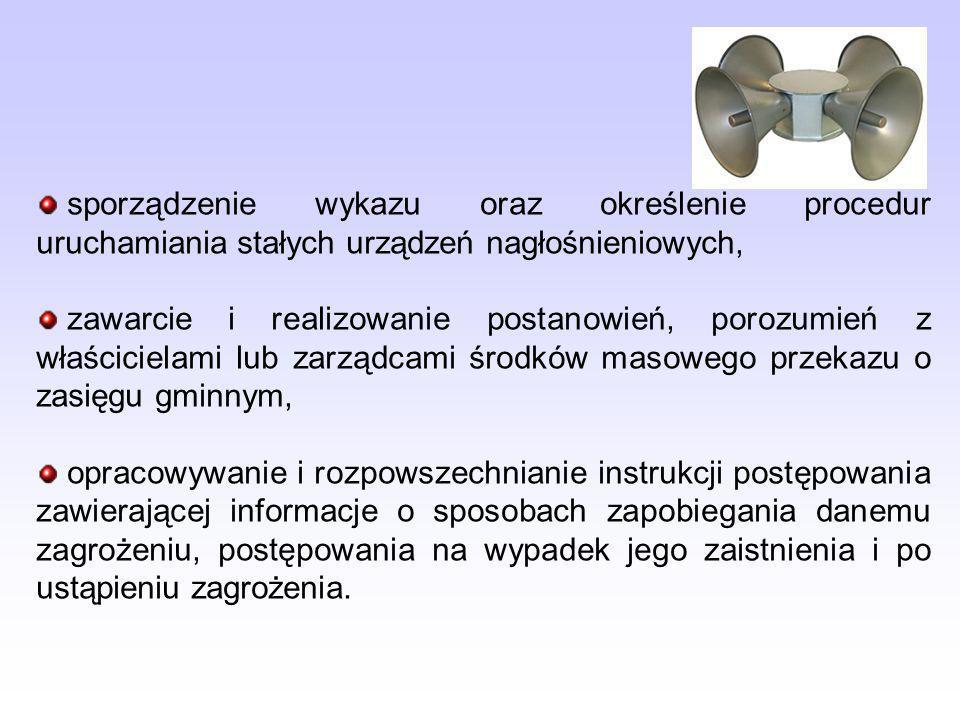 sporządzenie wykazu oraz określenie procedur uruchamiania stałych urządzeń nagłośnieniowych,