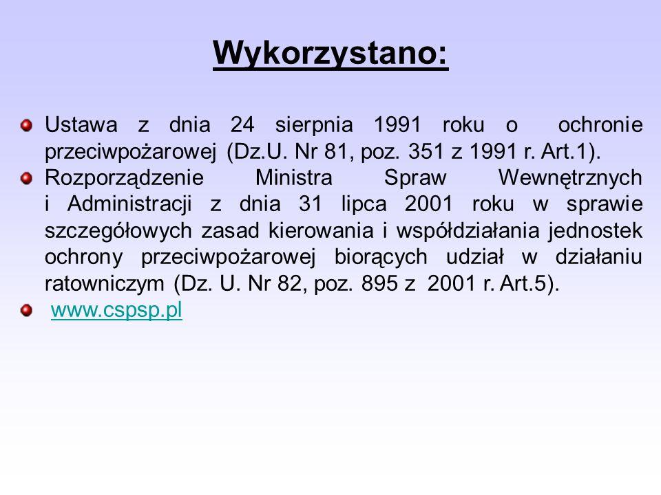 Wykorzystano: Ustawa z dnia 24 sierpnia 1991 roku o ochronie przeciwpożarowej (Dz.U. Nr 81, poz. 351 z 1991 r. Art.1).