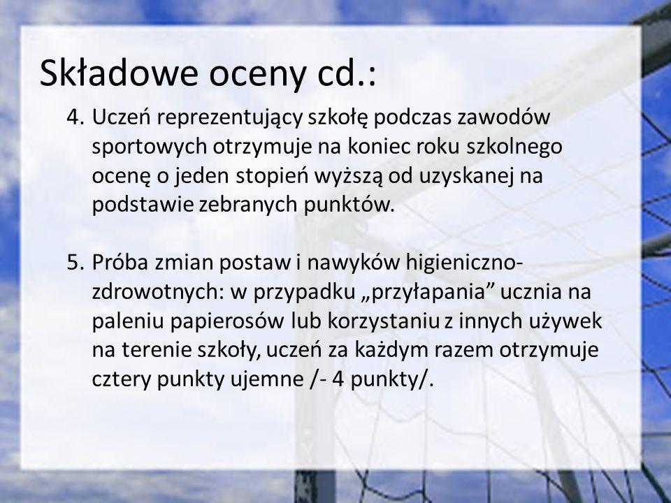 Składowe oceny cd.: