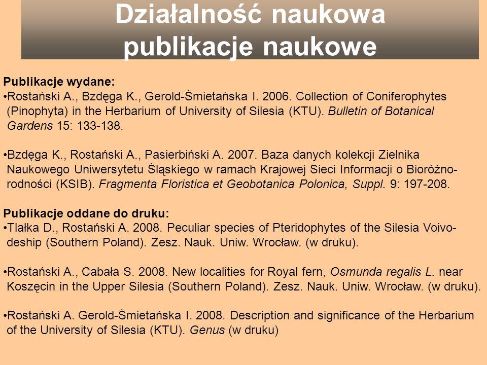 Działalność naukowa publikacje naukowe