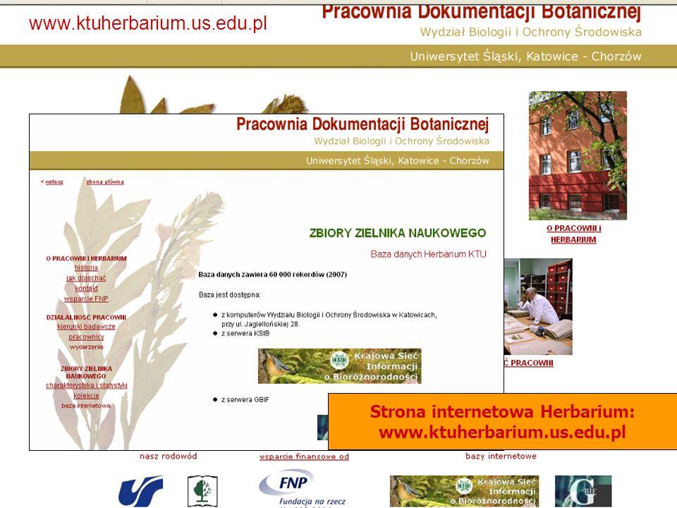 Strona internetowa Herbarium: www.ktuherbarium.us.edu.pl