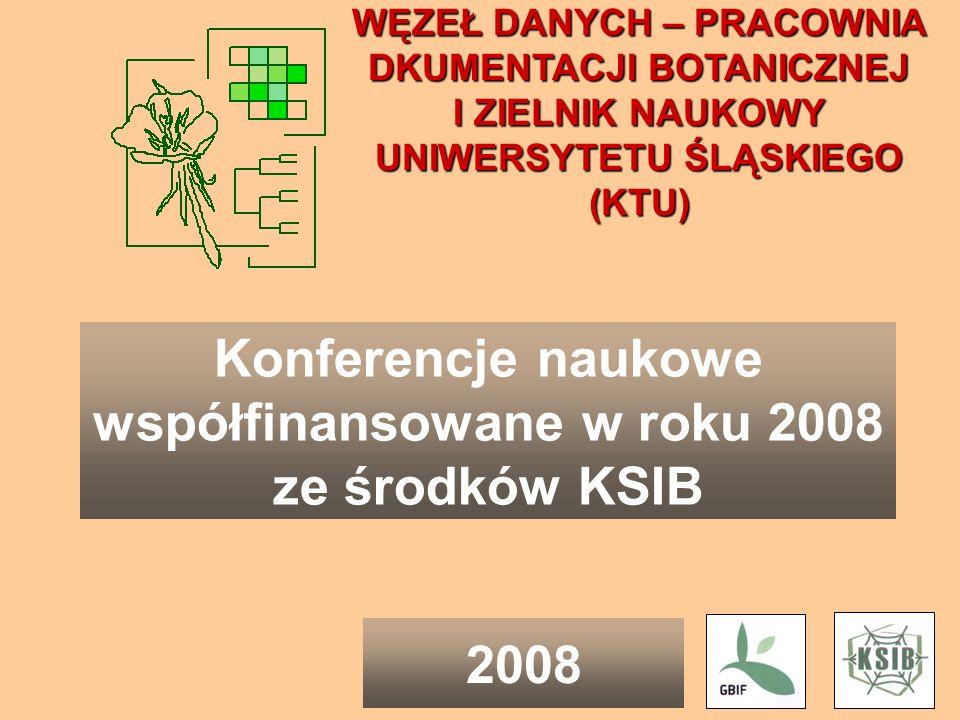 Konferencje naukowe współfinansowane w roku 2008 ze środków KSIB