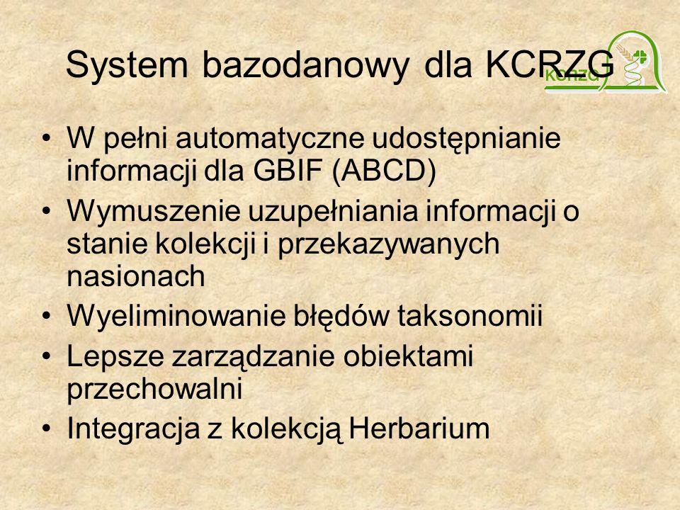 System bazodanowy dla KCRZG