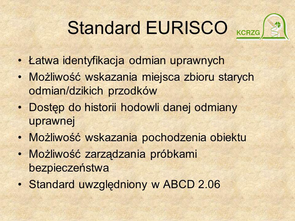 Standard EURISCO Łatwa identyfikacja odmian uprawnych