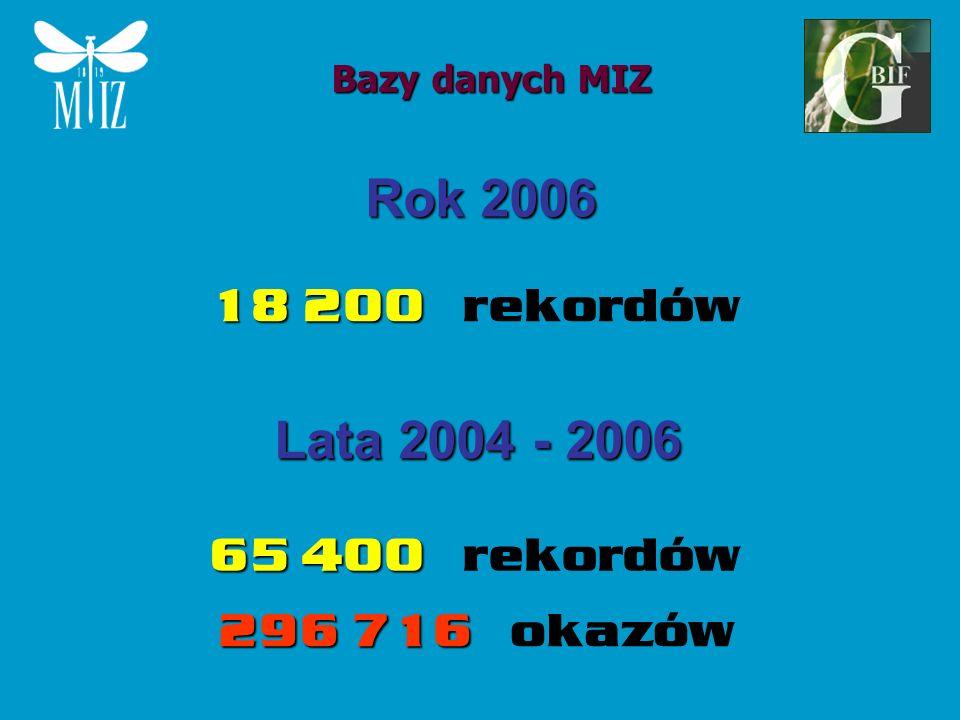 Rok 2006 Lata 2004 - 2006 18 200 rekordów 65 400 rekordów