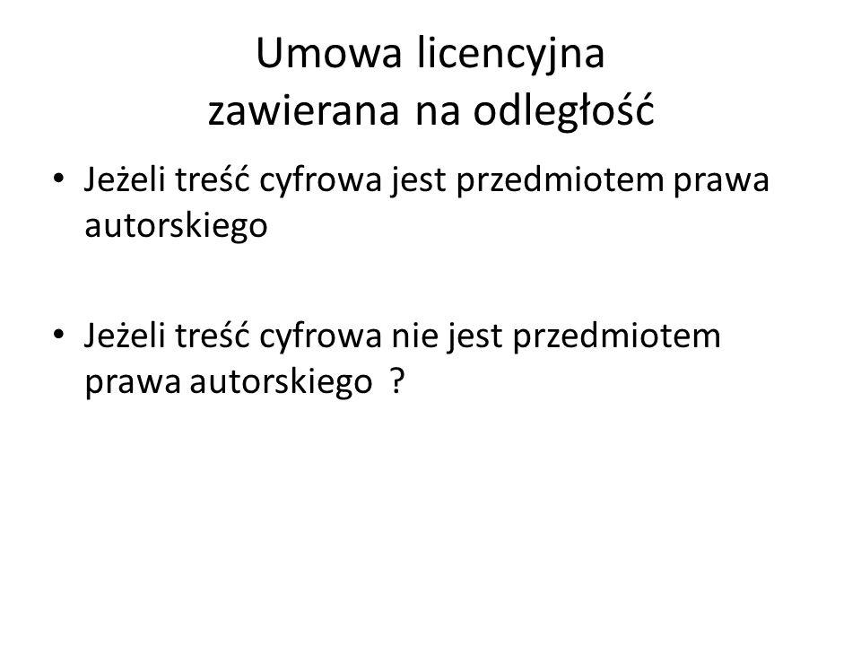 Umowa licencyjna zawierana na odległość
