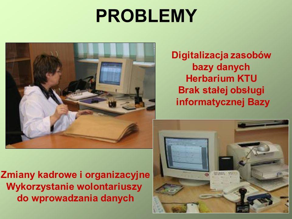 PROBLEMY Digitalizacja zasobów bazy danych Herbarium KTU