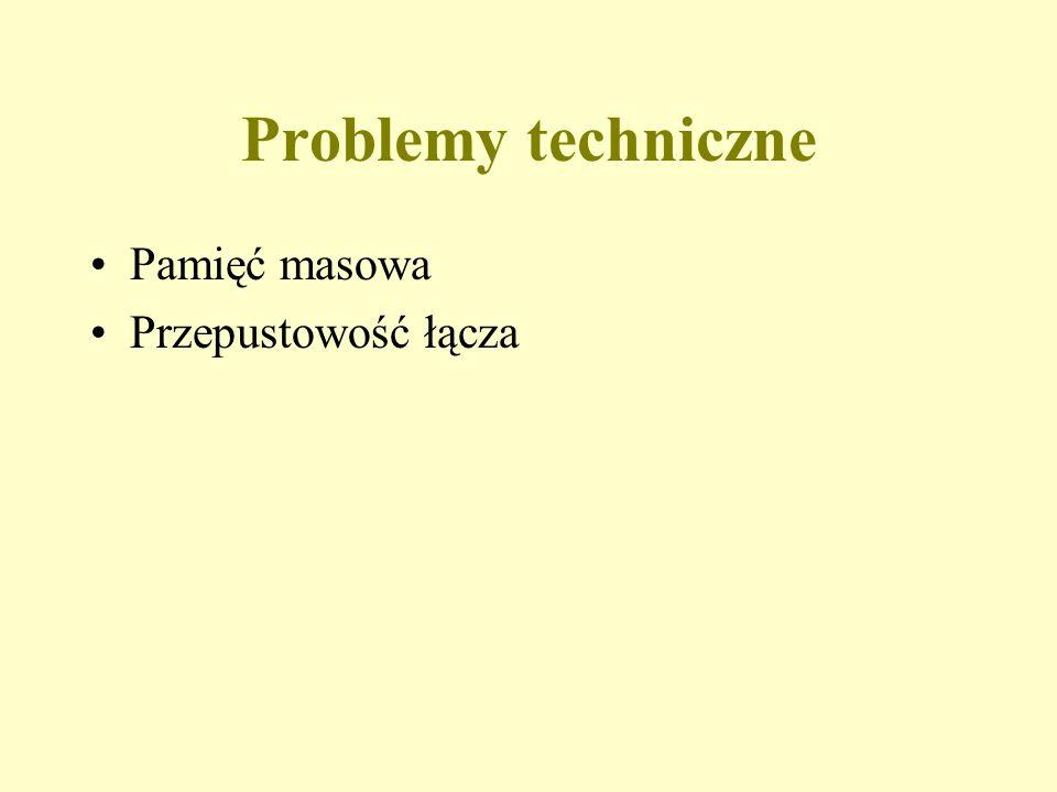 Problemy techniczne Pamięć masowa Przepustowość łącza