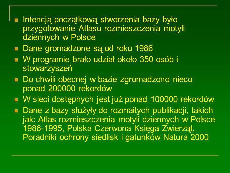 Intencją początkową stworzenia bazy było przygotowanie Atlasu rozmieszczenia motyli dziennych w Polsce