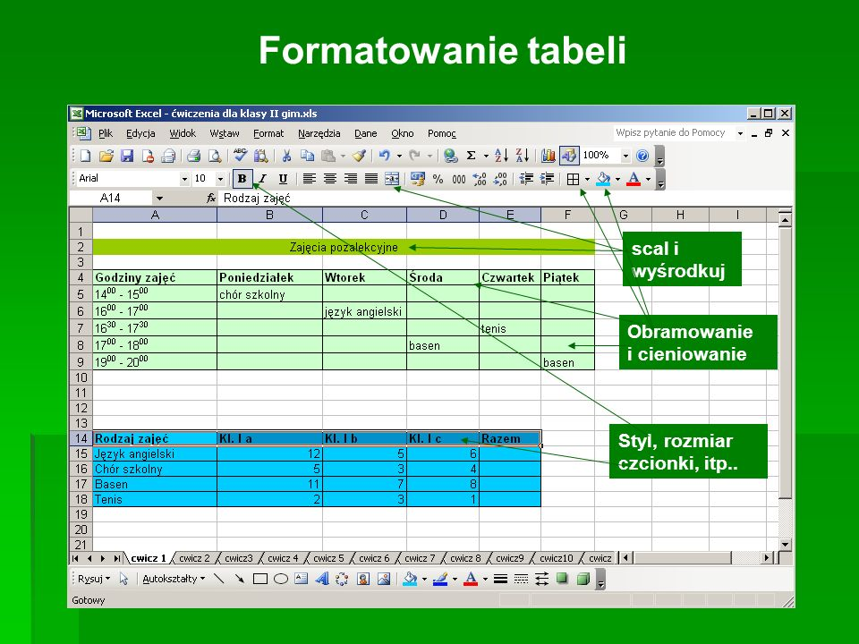 Formatowanie tabeli scal i wyśrodkuj Obramowanie i cieniowanie