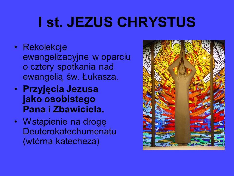 I st. JEZUS CHRYSTUS Rekolekcje ewangelizacyjne w oparciu o cztery spotkania nad ewangelią św. Łukasza.