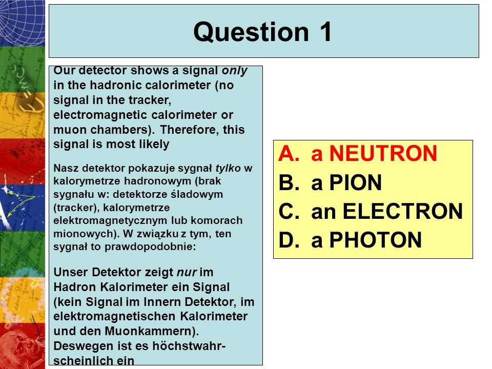 Question 1 a NEUTRON a PION an ELECTRON a PHOTON