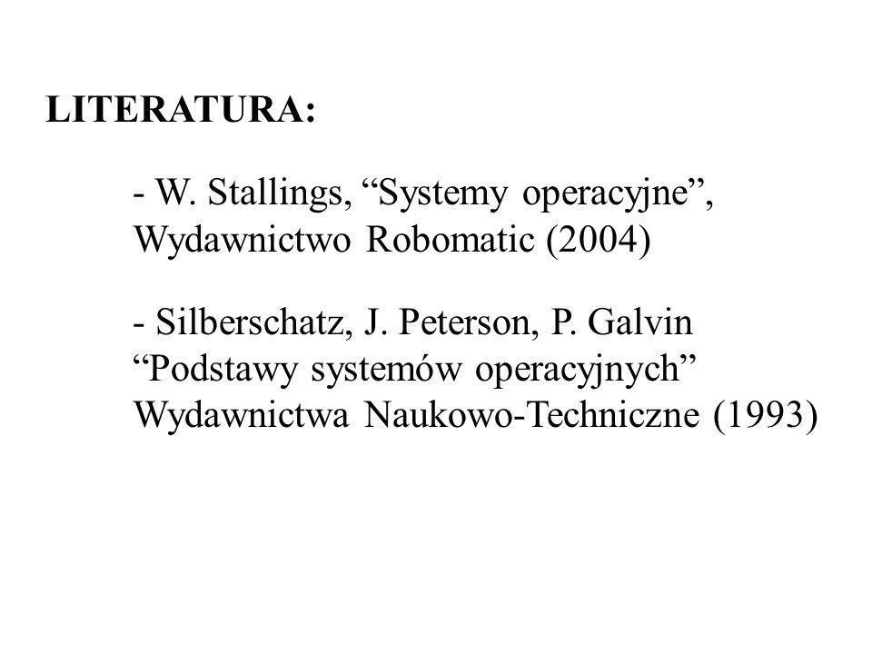 LITERATURA: W. Stallings, Systemy operacyjne , Wydawnictwo Robomatic (2004)