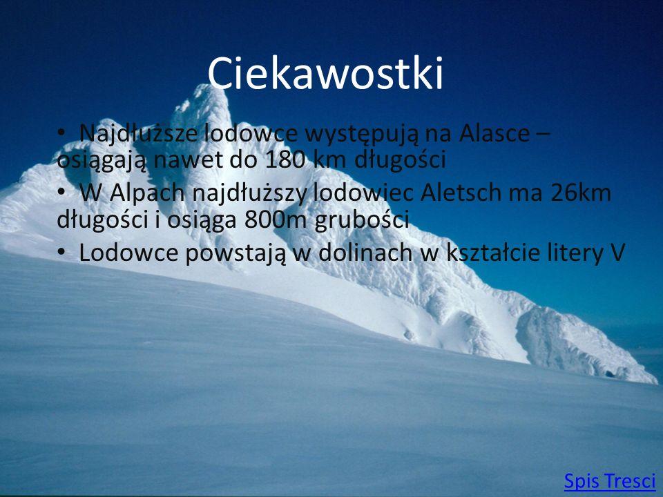 Ciekawostki Najdłuższe lodowce występują na Alasce – osiągają nawet do 180 km długości.